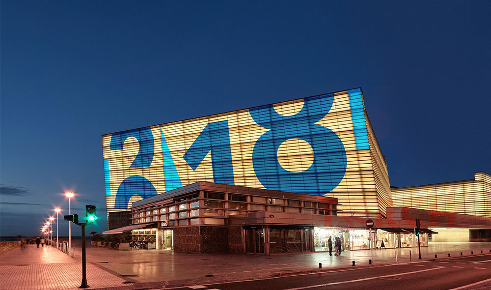 transparent LED mesh curtain display project in Spain